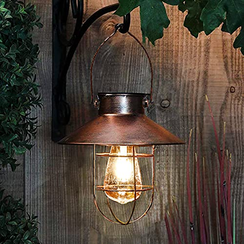pearlstar Solar Lantern Outdoor Hanging Light Metal Solar Lamp with Warm White Edison Bulb Design for Garden Yard Patio Porch Decor(Copper,)