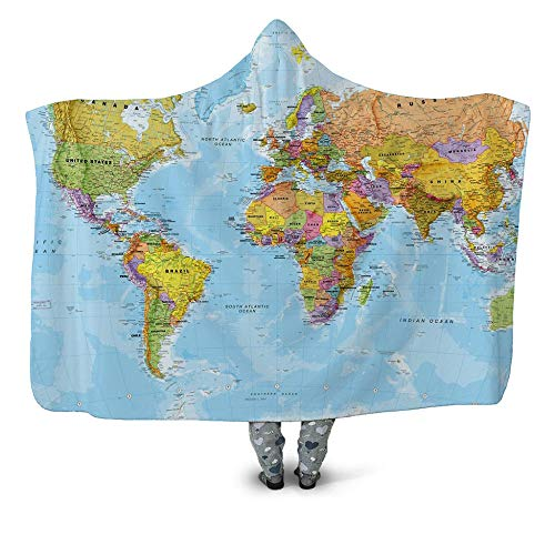 WZSZSA Fluffy TV Blanket with Hood Blue And Yellow Plate Map 3D Throw Fleece Sofa Blanket 60x80inch Polyester Microfiber Warm Comfy Wearable Hooded Adult children Blanket