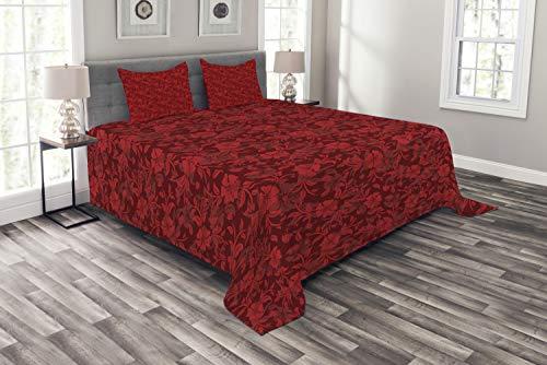 ABAKUHAUS rot Tagesdecke Set, Blumen Blätter & wirbelt, Set mit Kissenbezügen Sommerdecke, für Doppelbetten 264 x 220 cm, Bordeauxrot & Rot
