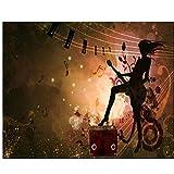 Mrlwy papel tapiz 3D murales personalizados personalidad chica guitarra eléctrica silueta barra fondo papel de pared-120X100CM