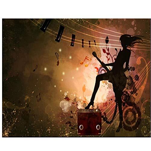 Mrlwy Fondo de pantalla personalizado murales 3d personalidad rock chica guitarra eléctrica...