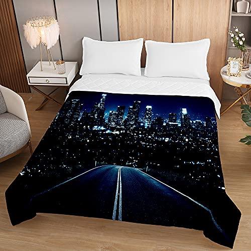 Oduo Vadderat sängöverkast mjukt mikrofiber lätt täcke täcke, dubbel kung lyx quiltade täcken bäddsoffa sängkläder för sovrumsdekor (natt motorväg, 220 x 240 cm)