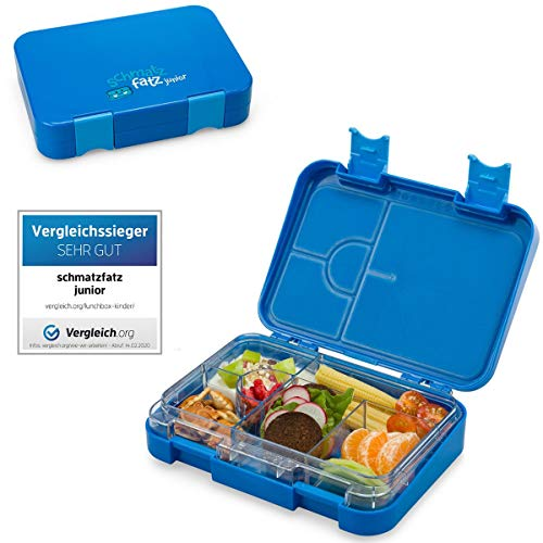 schmatzfatz junior Kinder Lunchbox, Bento Box mit variablen Fächern (Blau)