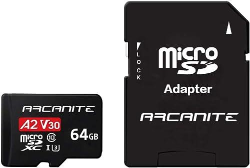 ARCANITE 64 Go Carte Mémoire microSDXC avec adaptateur SD - A2, UHS-I U3, V30, 4K, C10, microSD, Vitesse de lecture m...