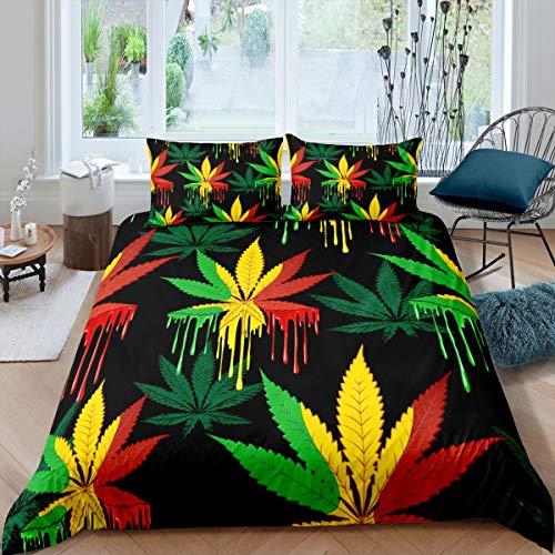 Loussiesd Marihuana Weed - Juego de cama de hojas de marihuana, 135 x 200 cm, diseño de hojas de marihuana, para hombres y adultos, con 1 funda de almohada