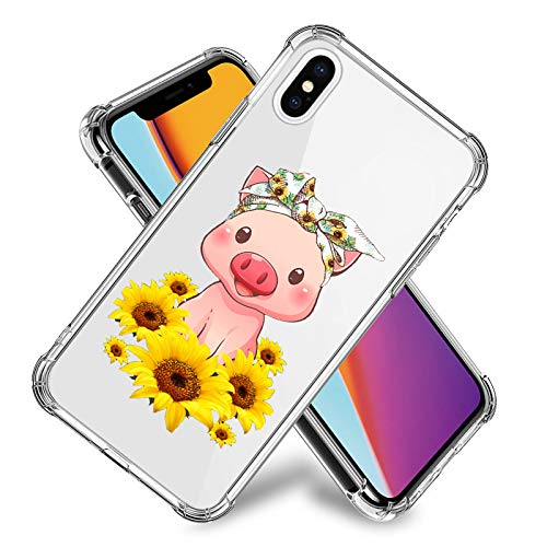 Pink Pig Sunflowers Clear Case for iPhone 11,11 Pro,11 Pro Max, iPhone X, XR, iPhone 7/8,7/8 Plus, Flexible TPU Shockproof Protective Case Cover