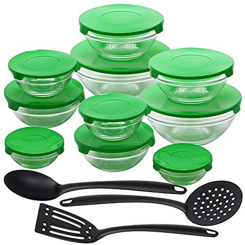 San Ignacio Plus Set 20pcs: 10 boles+10 tapas Energy verdes + utensilios cocina nylon - boles de cristal, 2 juegos de: Ø9 (150ml) / Ø10,5 (200ml) / Ø12,5 (350ml) / Ø14 (500ml) / Ø17, 900ml