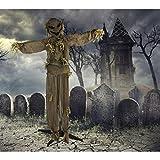 Haunted Hill Farm HHPUMP-3FLS Life-Size Animatronic Scarecrow, Indoor/Outdoor Halloween Decoration, Multi