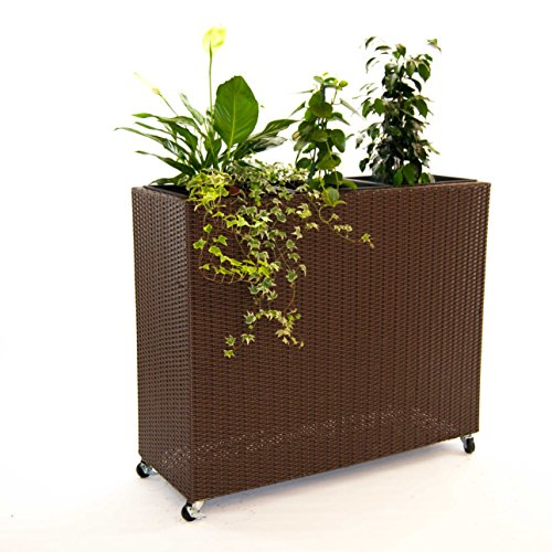 Elegant Einrichten Pflanzkübel, Pflanztrog Polyrattan als Raumteiler mit Rollen 106x40x90cm braun.