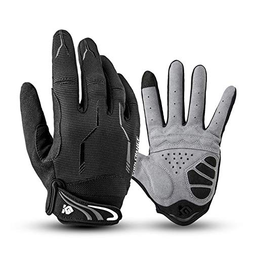 I Kua Fly Cycling Gloves Full Finger Mountain Bike Gloves Gel Padded Touchscreen MTB Gloves for Men Women, Black, XL