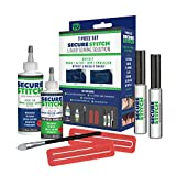 Secure Stitch Liquid Sewing Solution Kit! Fabric Glue That Quickly Mends, Alters, Hems & Embellishes Without a Needle and Thread! Includes: 4oz.Fabric Solution & 2oz All Fabric Solution
