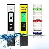 Tester PH Misuratore Ph/TDS/EC/Temperatura 4 in 1 Misuratore PH Piscina Tester Digitale Della Qualità Dell'acqua per Piscina, Acquario