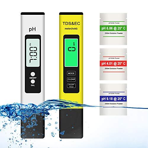 PH Mètre TDS Mètre, Testeur ph ec Piscine, TDS PH EC Température 4 en 1 Testeur de qualité de l'eau avec Écran LCD Auto-Calibration 0-9990 PPM...