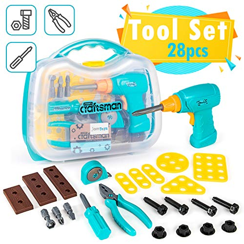 Toy Tool Kit for Toddlers & Kids, Girls & Boys - 28-Piece Large Set with Drill, Storage Box, Screwdriver, Measuring Tape, Pliers, Bolts & Nuts - Play Pretend Gift for 3 4 5 6 7 Year Old Age Children