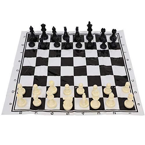 MOH Juego de Tablero de ajedrez Juego de Tablero de Entretenimiento Medieval de plástico Internacional de ajedrez portátil en Blanco y Negro
