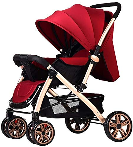 Great Features Of Baby Cart High Landscape Light Can Sit and Lie Down Fold Suspension Four Rounds Ba...