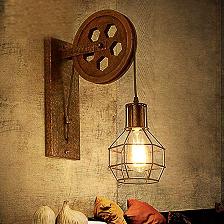 American Rustic Classic Country Wall Lamps Sconces Metal Wall Light Industrial Wind Retro Schmiedeeisen Pulley Wandlampe Restaurant Bar Beleuchtung Korridor Gang Lights 110-240 V 40-60 W E27 braun
