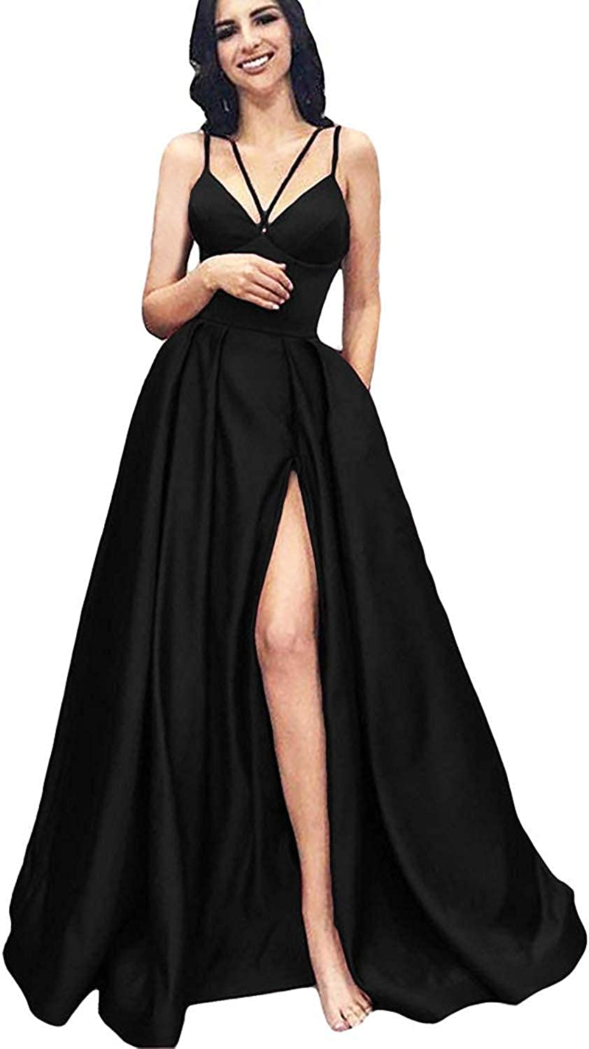 EverBeauty Womens Aline Satin Prom Dress 2019 Long Slit Evening Formal Gown with Pockets