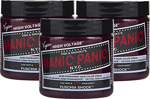Manic Panic Fuschia Shock Hair Dye – Classic High Voltage - (3PK) Semi Permanent Hair Color - Dark Pink Fuschia Shade - For Dark & Light Hair – Vegan, PPD & Ammonia-Free - For Coloring Hair