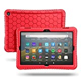 Fintie Silikon Hülle Kompatibel mit Das Neue Fire HD 8 & Fire HD 8 Plus Tablet (10. Generation, 2020) - Leichte rutschfeste Stoßfeste Silikon Tasche Kinderfre&liche Schutzhülle, Rot