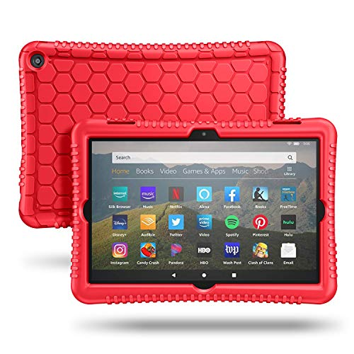Fintie Silicone Case for All-New Kindle Fire HD 8 Tablet and Fire HD 8 Plus Tablet (10th Generation, 2020 Release) - [Honey Comb Series] [Kids Friendly] Light Weight Shock Proof Back Cover, Red