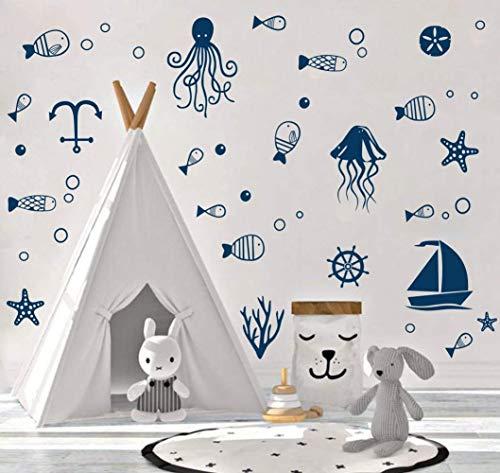 ANHUIB 44Pcs Badezimmer Wandsticker,Wandtattoo für Kinderzimmer,Wandsticker Unterwasserwelt,Cartoon Fische Segelboot Sticker,Meeres Tiere Wandtattoo für Jungs Schlafzimmer Babyzimmer Fliesen WC Dekor