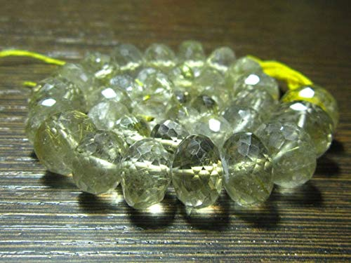 LOVEKUSH BEADS GEMSTONE AAA-Golden Rutile Faceted Big Rondelle- 7 Inch Long Strand -Stones measure- 7-12mm Code-RR-10217