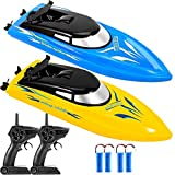 2 Pack Remote Control Boats for Pools and Lakes for Kids and Adults, 10km/H 2.4 GHz Mini RC Boat Toy with 4 Rechargeable Batteries, Blue+Yellow