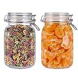 BESTONZON - Juego de recipientes de cristal herméticos para almacenamiento de alimentos, botes de cristal para cocina, perfecto para cereal de cocina, azúcar, frijoles (1,5 L, 2 unidades)