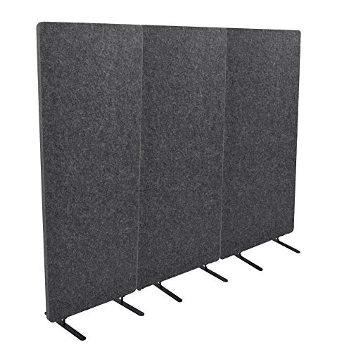 ReFocus Raw Freestanding Acoustic Room Divider 3 Pack – Reduce Noise and Visual Distractions with This Lightweight Room Separator (Ash Gray, 24' X 62')