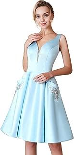 HONGFUYU Women's V-Neck Beaded Pockets Short Long Cocktail Prom Dress