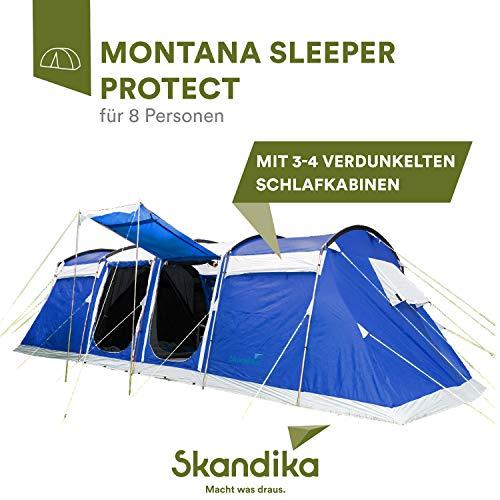 skandika Montana 8 Sleeper 6-8 Personen Familienzelt mit dunklen Schlafkabinen, eingenähtem Zeltboden, 5.000 mm Wassersäule (dunkelgrau 8 Pers. Sleeper Protect)