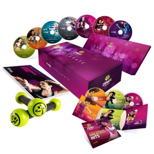 Zumba Fitness Exhilarate Koffer 7DVD + 3CD inklusive die 2Hanteln und das Booklet
