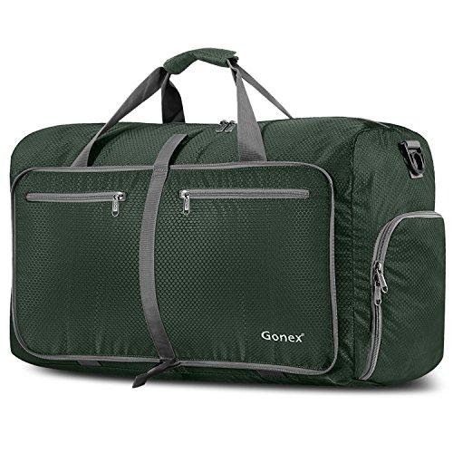 Gonex 80L Borsa da Viaggio Borsoni Pieghevole Impermeabile per Viaggio Sport Palestra Campeggio Bagaglio a Mano Tracolla con Grande Capacità di 80 Litri (Verde Scuro)