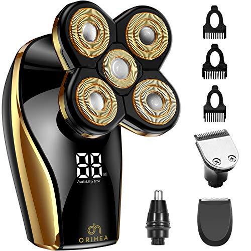 Maquinilla de afeitar eléctrica Gold para hombres calvos, OriHea 6 en 1 Kit de afeitadora eléctrica y aseo, inalámbrico y recargable en húmedo/seco 5 cabezas 5D Rotary Shaver con Clippers nariz