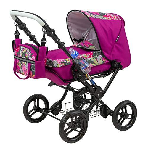 Zekiwa Kombipuppenwagen Zeki Complete, hochmodischer Puppenwagen, mit Tragetasche und Fusssackfunktion, Anhängetasche inklusive, Dessin: Hibiskus Pink