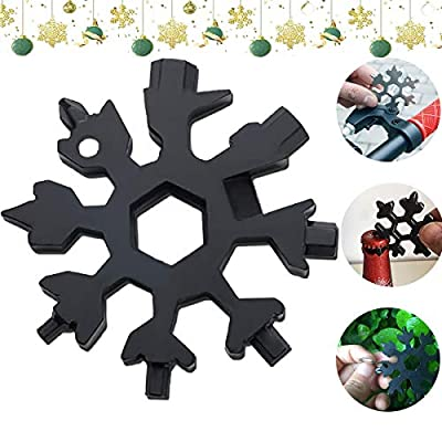 18-in-1 Snowflake Multi-Tool, Portable Stainless Steel Snowboarding Screwdriver, Compact Snowflakes Multitool for Bottle Opener/Outdoor Camping/Keychain, Great Christmas Gift