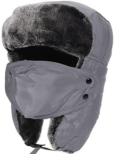 Aidonger Unisex Uomo Donna Cappelli Aviatore con Maschera Smontabile per Autunno Inverno Sci Cappuccio (grigio)