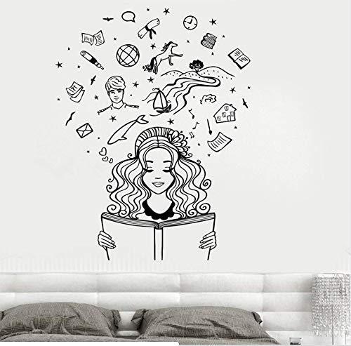 Adesivo Murale In Vinile Ragazza Che Legge Un Libro Fantasy Romantico Fiaba Fantasia, Adesivo Murale Per Soggiorno Camera Da Letto Casa 74X94Cm