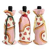 3 pezzi di sacchetti per bottiglie di vino, borsa per regali di Natale con pizza d'amore per matrimoni, bomboniere, forniture per feste natalizie, feste e vino