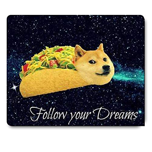 Gaming Mouse Pad Custom,Doge in Taco Chicken Rolls Flying Across The Galaxy Space Fllow Your Dream Mousepad Mouse Pad Mat Non-Slip Rubber Large Mousepad - 9.8(L)x 11.8(W) inch