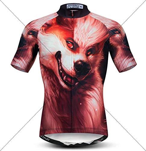 Camiseta Ciclismo De Hombre,Los Hombres Maillots De Manga Corta De Verano Repele La Humedad Secado Rápido Transpirable Shirt Vestido Animal Print Lobo 3D Mens Tops De Desgaste Para Deportes Al Aire