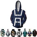 3D Hoodie Boku No Hero Academia My Hero Academia Izuku Midoriya Hoodies Cosplay Costume Jacket Adult Unisex (XXL, Bule)