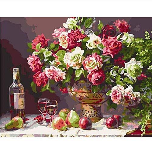 Hyllbb DIY ölgemälde Malen nach Zahlen DIYRomantische Distel und Bier Blume Leinwand Hochzeit Dekoration Kunst Bild Geschenk-40 * 50cm,Without frame