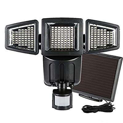 Solar Security Lights Outdoor, Pearlstar Ultra Bright Motion Sensor Lights with Adjustable 3 Heads, Wide Angle Illumination, Waterproof Flood Light for Yard, Patio, Porch, Driveway