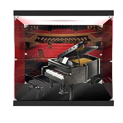 Likecom Vitrina acrílica para Lego Grand Piano 21323 (sin kit Lego), clase S sin pegamento, base de plástico engrosada, caja de luz superior y diseño