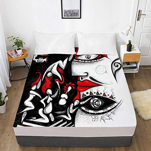 lhmlyl Double Mattress Protector 3D Digital Home Textile Factory Bed Sheet Bedspread Mattress Protector Abstract-Abstract 009-White-F_198X203X40Cm