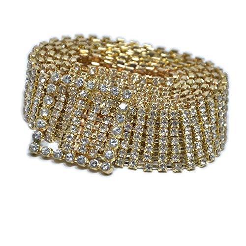 JIURI Women Crystal Rhinestone Chain Buckle Waist Belt Party Club Gold Silver Shiny Bling Sparkly Sash Waistband(GO)