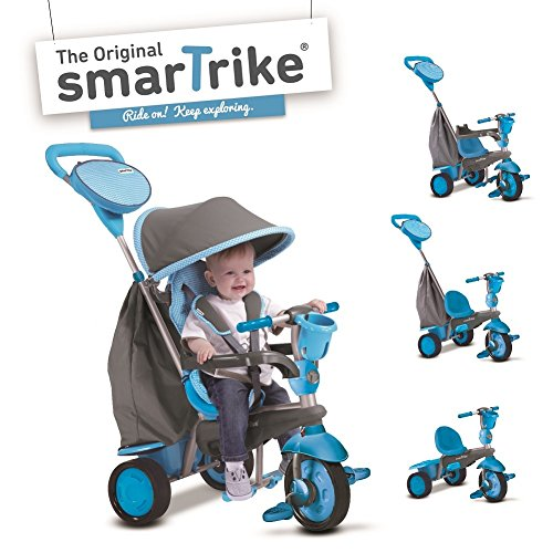 Blauwe Smart Trike Swing 4-in-kind driewieler baby slipvoertuig kinderwagen