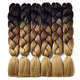 Ombre Braiding Hair Kanekalon Braiding Hair Synthetic Hair Extensions for Braiding Crochet Twist Box Braids 24 Inch 3 Tone Black to Dark Brown to Light Brown 6 Packs Jumbo Braiding Hair